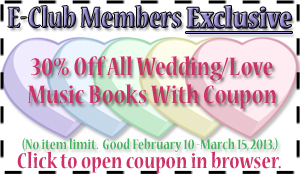 Coupon - 25% off Love and Wedding Songbooks