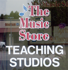 Sign on The Music Store Teaching Studios door